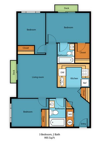 Three Bed Two Bath Floor Plan 10