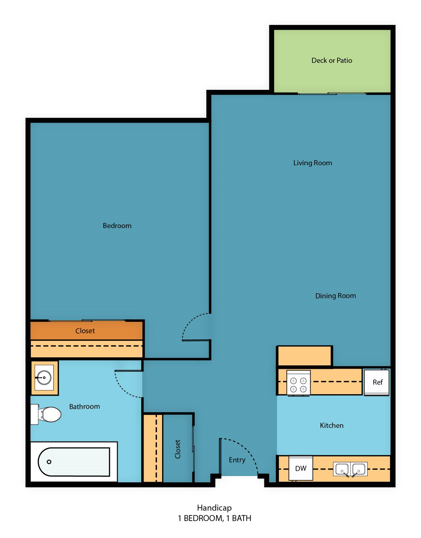One Bedroom Handicap Floor Plan 3