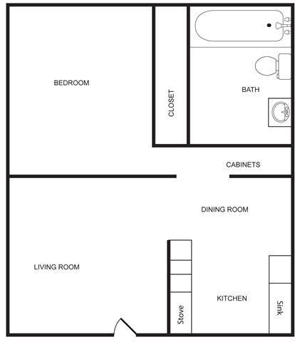 Shady Lane - 1 Bed 1 Bath Floor Plan 1
