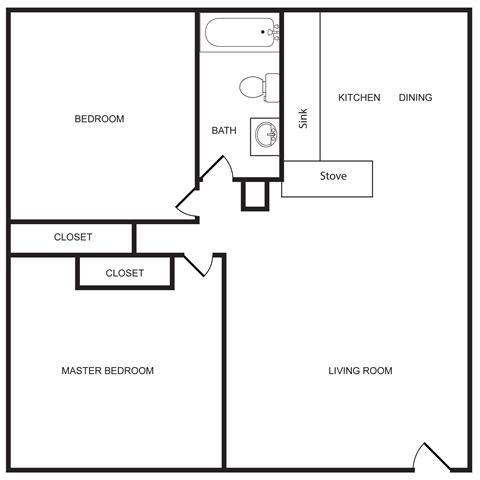 Shady Lane - 2 Bed 1 Bath Floor Plan 2