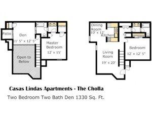 Cholla Floorplan at Casas Lindas Apartment Homes, Tucson, AZ