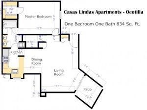 Ocotillo Floorplan at Casas Lindas Apartment Homes, Tucson, AZ, 85704