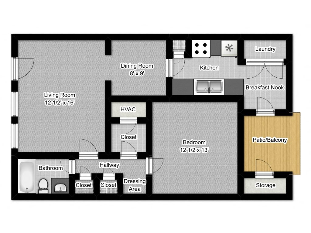 1 Bedroom A Floor Plan 1