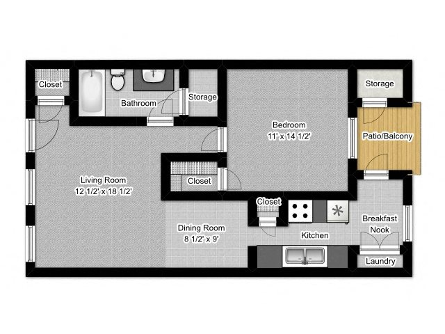 1 Bedroom B Floor Plan 2