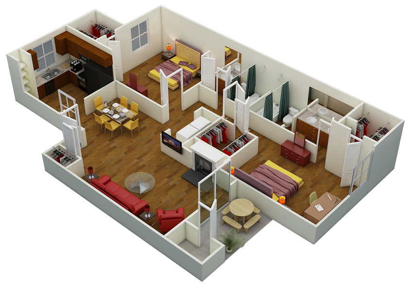 Two Bed | Two Bath | D3