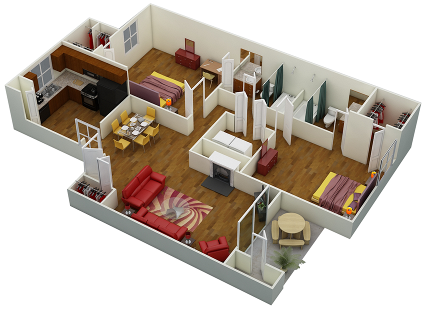 Two Bed | Two Bath | D2