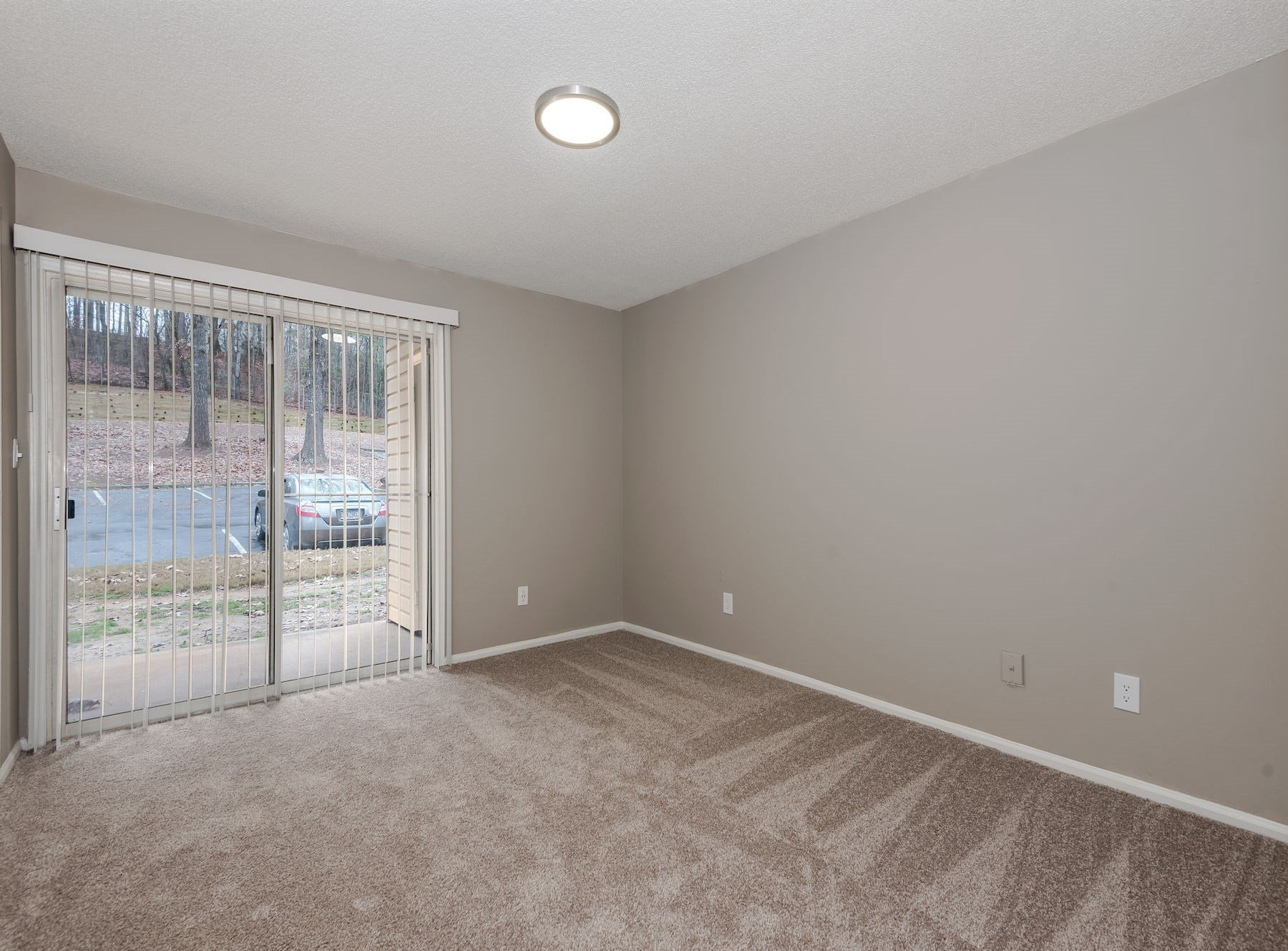 Model Living Area With Carpet And Large Window