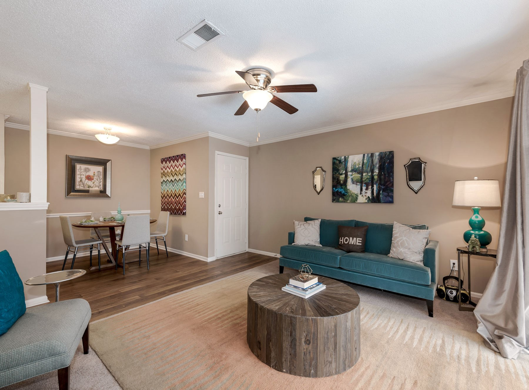 Model Living Room With Ceiling Fan