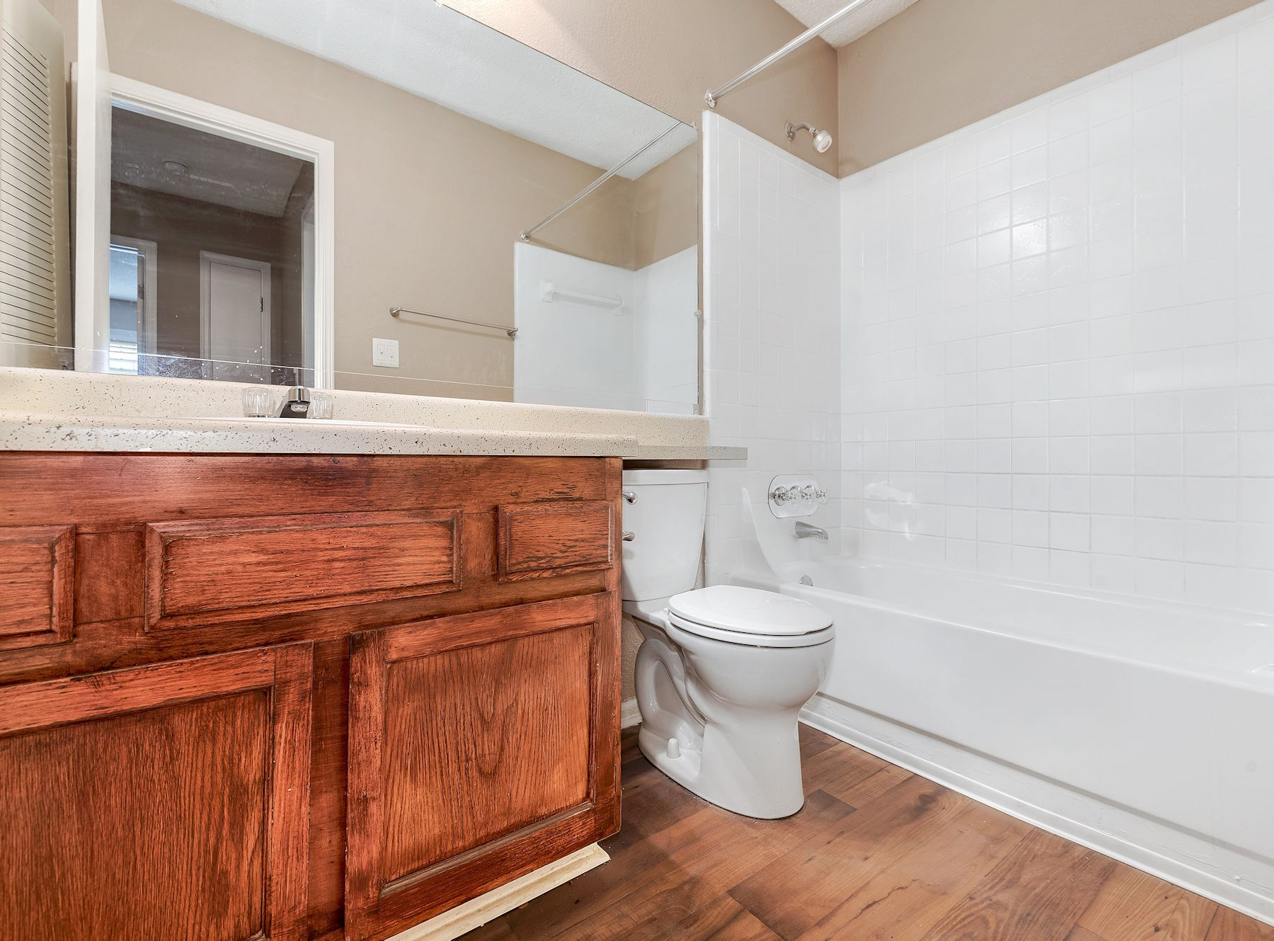 Model Bathroom With Wood Cabinets