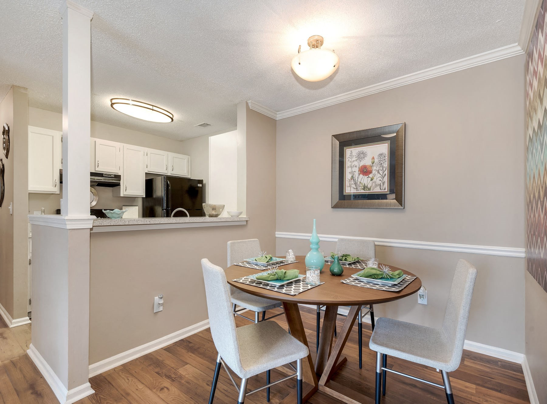 Model Dinning Area With Wood Style Floors