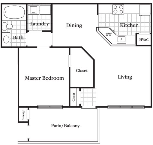 1 Bedroom 1 Bath Deluxe Floor Plan 3