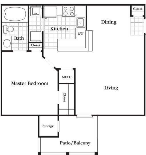 1 Bedroom 1 Bath Economy Floor Plan 1