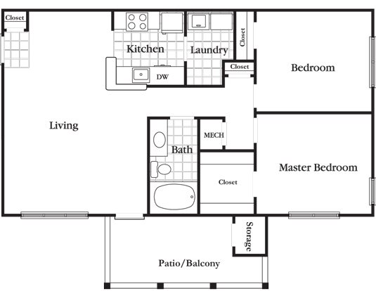 2 Bedroom 1 Bath Deluxe Floor Plan 5