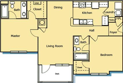 2 Bedroom 2 Bath Floor Plan 6
