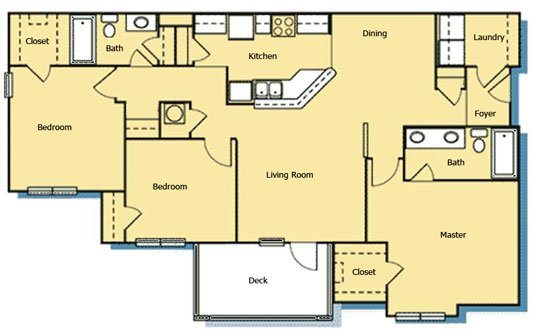 3 Bedroom 2 Bath Floor Plan 9