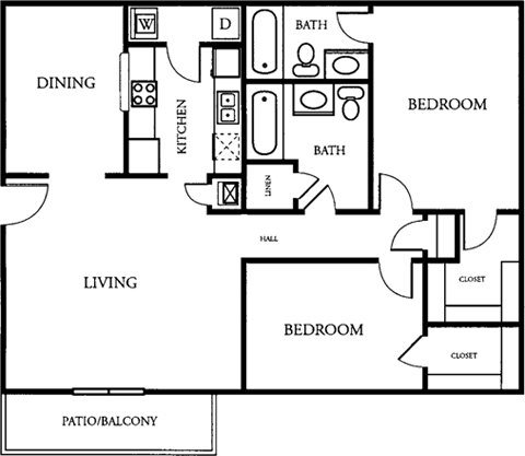 2 Bedroom 2 Bath Floor Plan 2