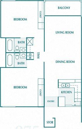 2 Bedroom 2 Bath Deluxe Floor Plan 3