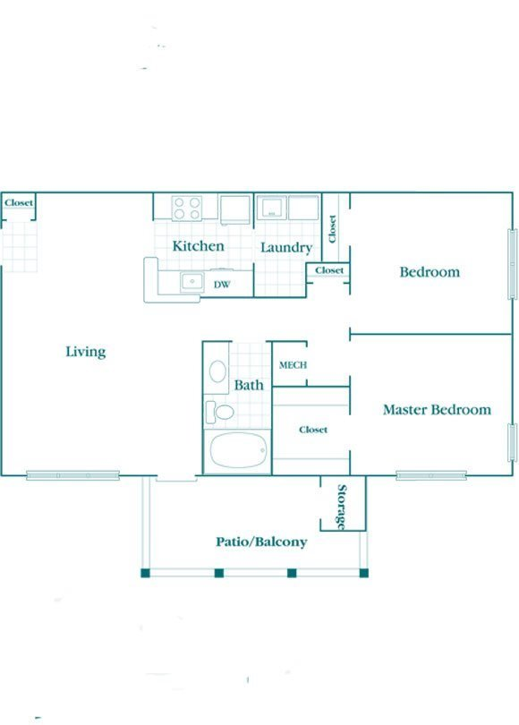 2 Bedroom 1 Bath Floor Plan 3