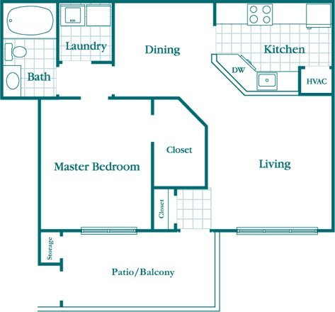 1 Bedroom 1 Bath Floor Plan 1
