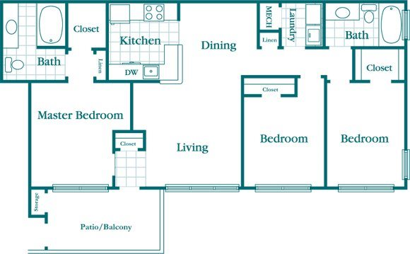 3 Bedroom 2 Bath Floor Plan 6