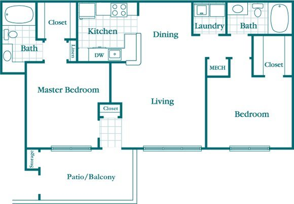 2 Bedroom 2 Bath Deluxe Floor Plan 5