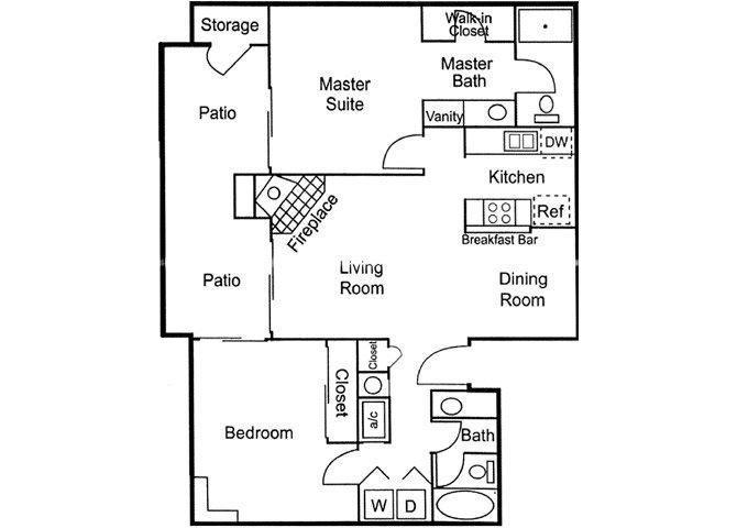 2 Bed 2 Bath Downstairs Floor Plan 3