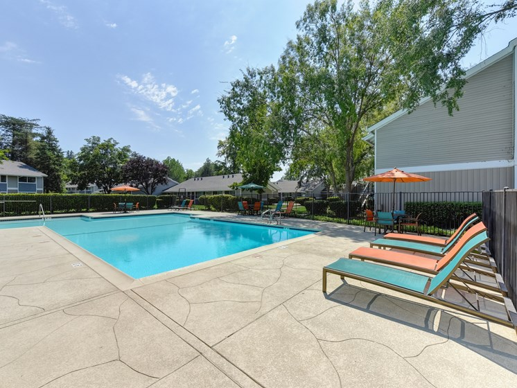 Pool Area with Lounge Chairs, Trees and Apartment Exteriors