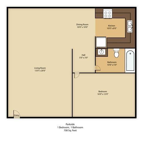 1 BED  1 BATH Floor Plan 2