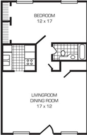 1 Bedroom Deluxe 1 Bath Floor Plan 3