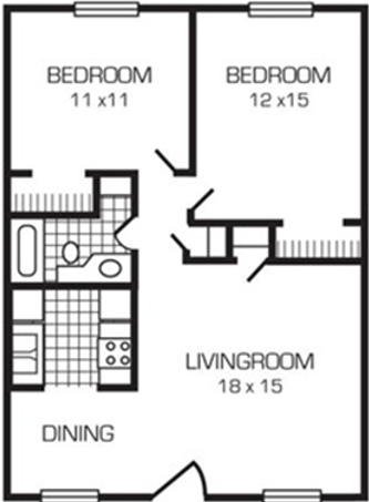 2 Bedrooms Deluxe 1 Bath Floor Plan 5