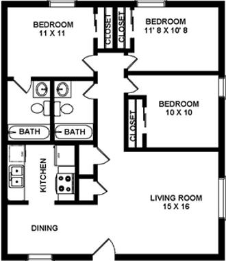 3 Bedrooms 2 Baths Floor Plan 4