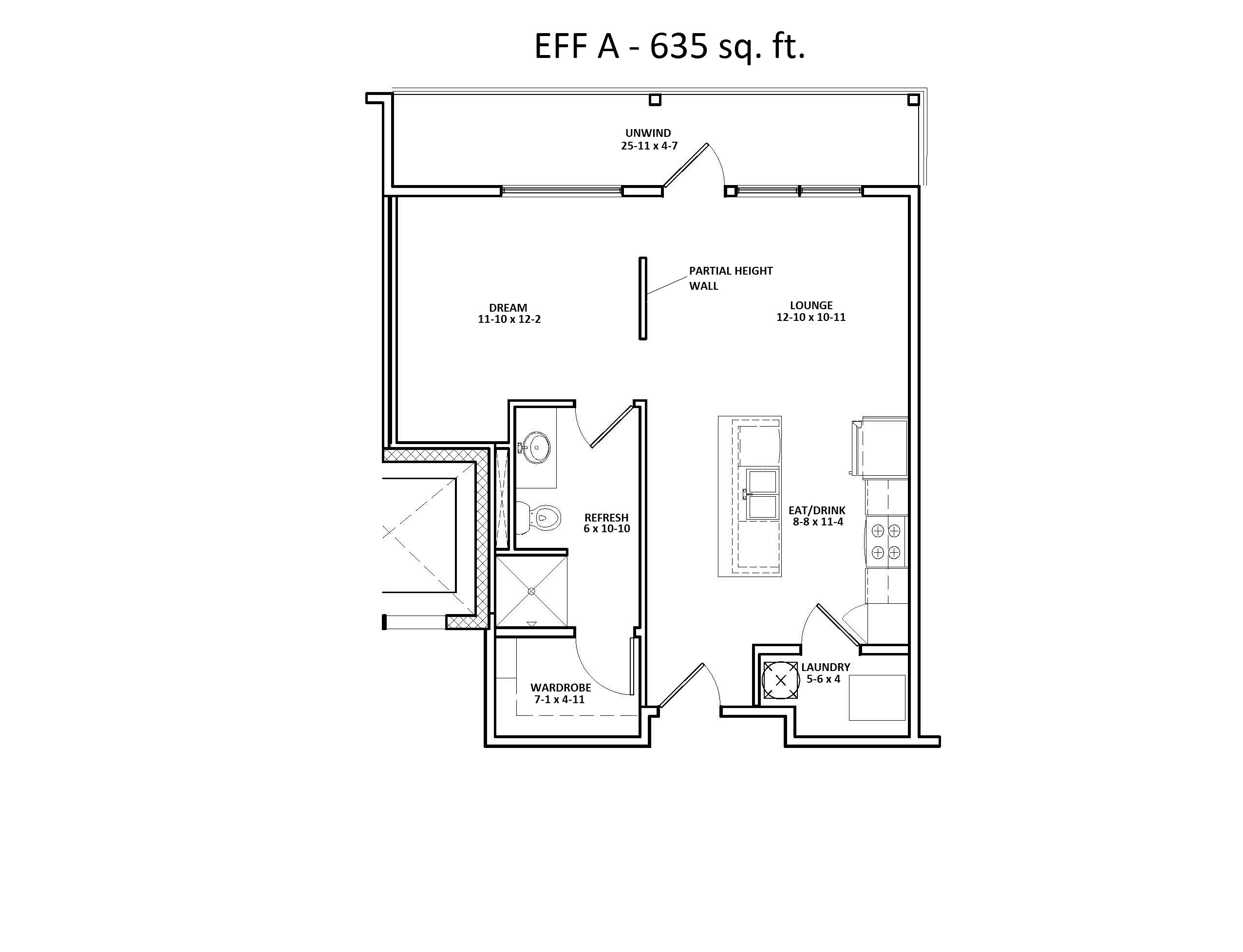 EFF A Two Bedroom Floor Plan at Discovery at the Realm (Castle Hills)