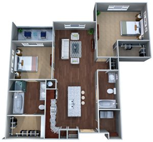2 F Two Bedroom Floor Plan, Discovery at the Realm (Castle Hills), Lewisville