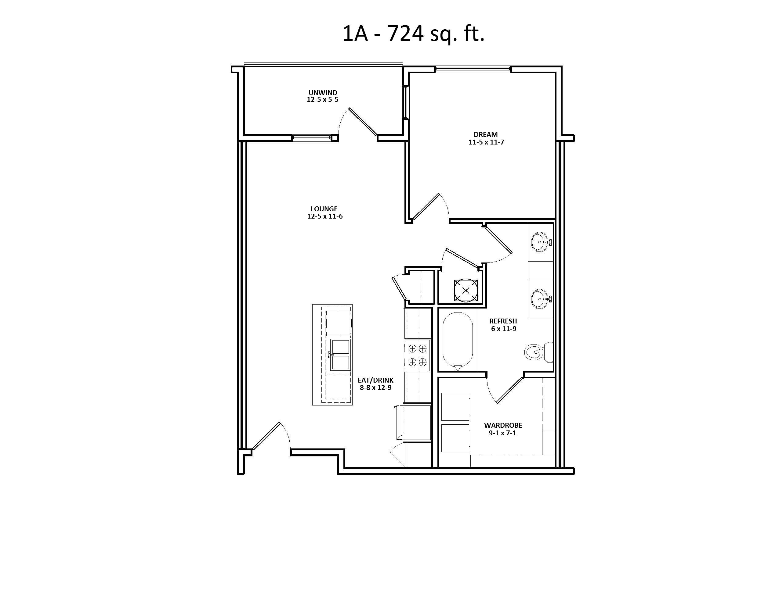 1 A Floor Plan, One bedroom, Discovery at the Realm (Castle Hills), TX