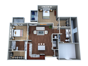2 G Floor Plan, Two Bedroom, Two Bathroom, Discovery at the Realm (Castle Hills), Texas