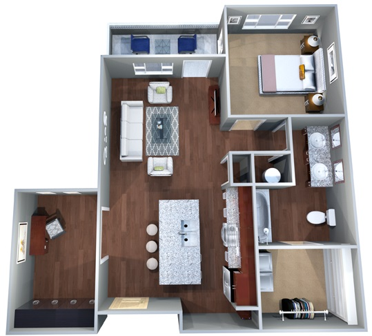 1 A.1 Floor Plan, One Bedroom, Office, Discovery at the Realm (Castle Hills)