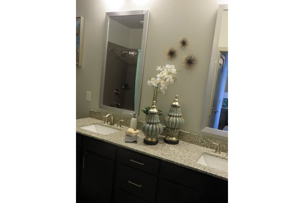 Custom Framed Bathroom Mirrors at Discovery at The Realm (Castle Hills), 3600 Windhaven Parkway, Lewisville, 75056