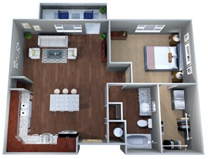 1 D One Bedroom Floor Plan, Discovery at the Realm (Castle Hills), Lewisville, 75056