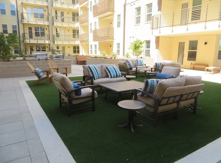Three resident courtyards at Discovery at the Realm (Castle Hills), TX, 75056