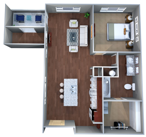 1 G, Floor Plan, One Bedroom, Discovery at the Realm (Castle Hills), 75056, TX