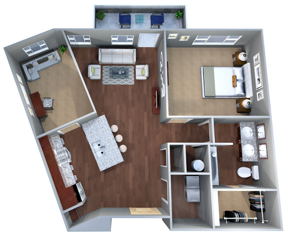 1 H, One Bedroom Floor Plan, Discovery at the Realm (Castle Hills), Texas