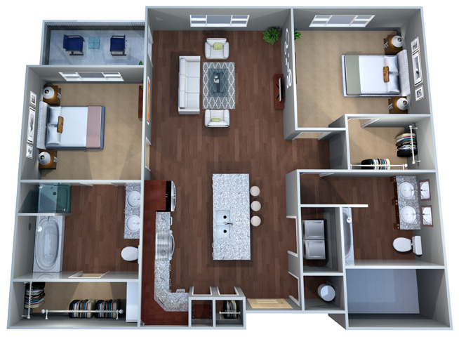2 B Floor Plan, Two Bed, Two Bath, Discovery at the Realm (Castle Hills), Lewisville, 75056