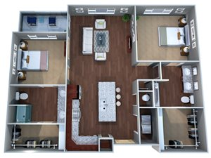 2 C Floor Plan at Discovery at the Realm (Castle Hills), Two Bedrooms