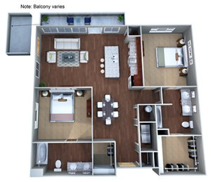 2 E Floor Plan at Discovery at the Realm (Castle Hills) with Two Bedrooms, TX, 75056
