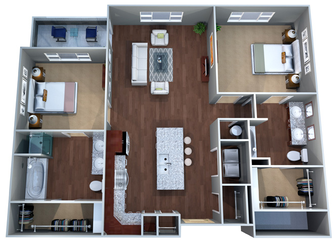 2 H Floor Plan, Two Bedroom, Discovery at the Realm (Castle Hills), Texas