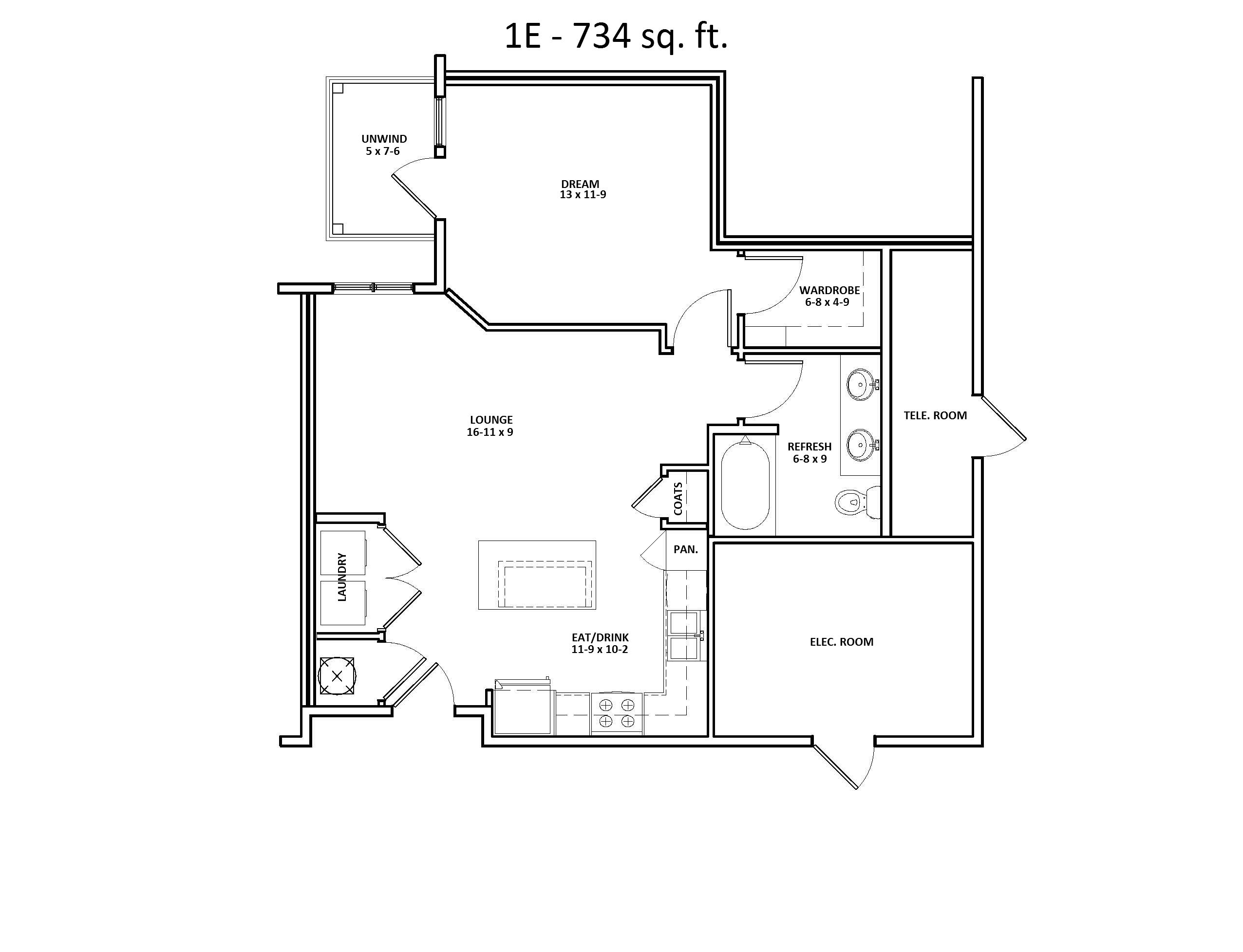 1 E Two Bedroom Floor Plan at Discovery at the Realm (Castle Hills)