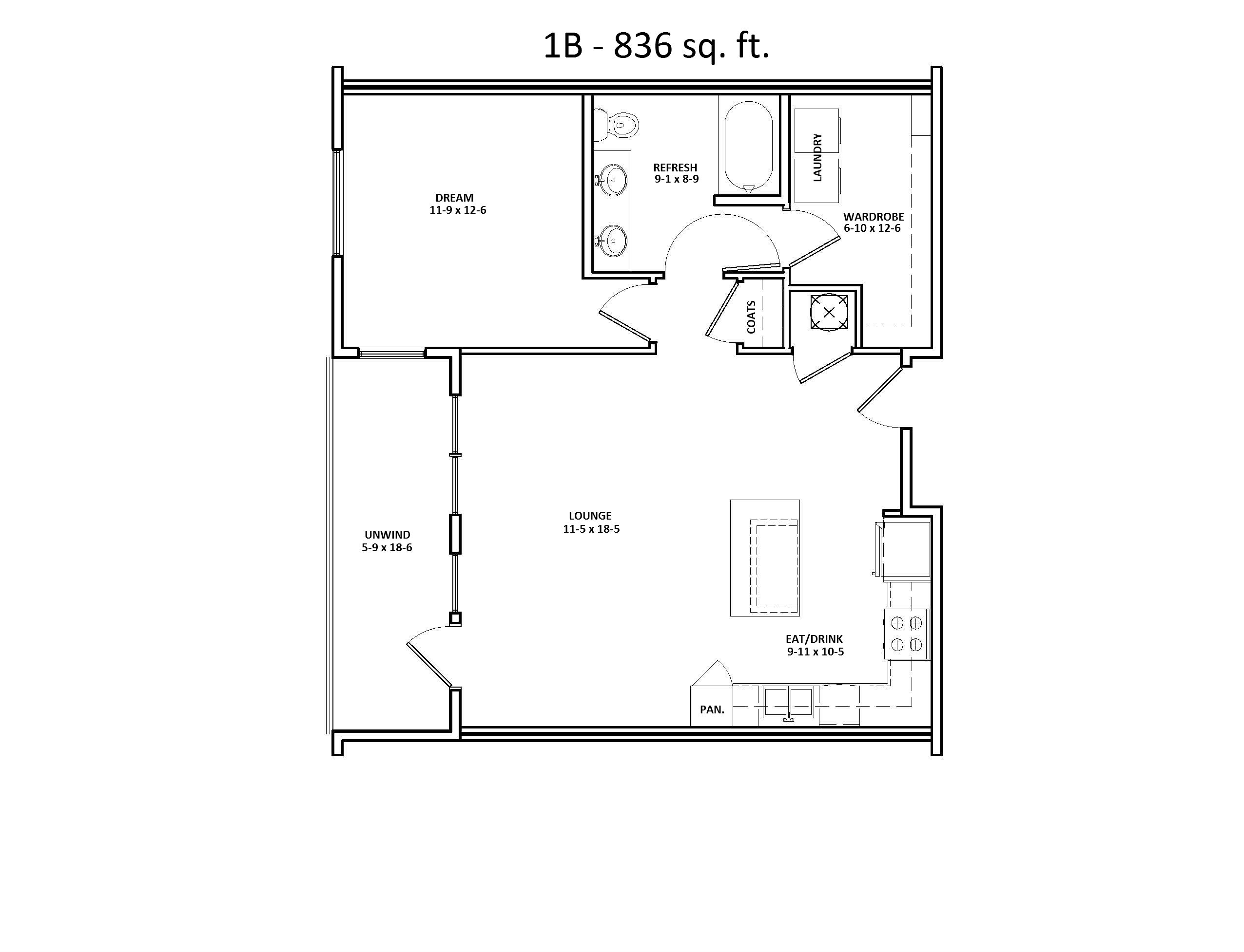 1 B Floor Plan, One Bed, One Bath, Discovery at the Realm (Castle Hills), Lewisville