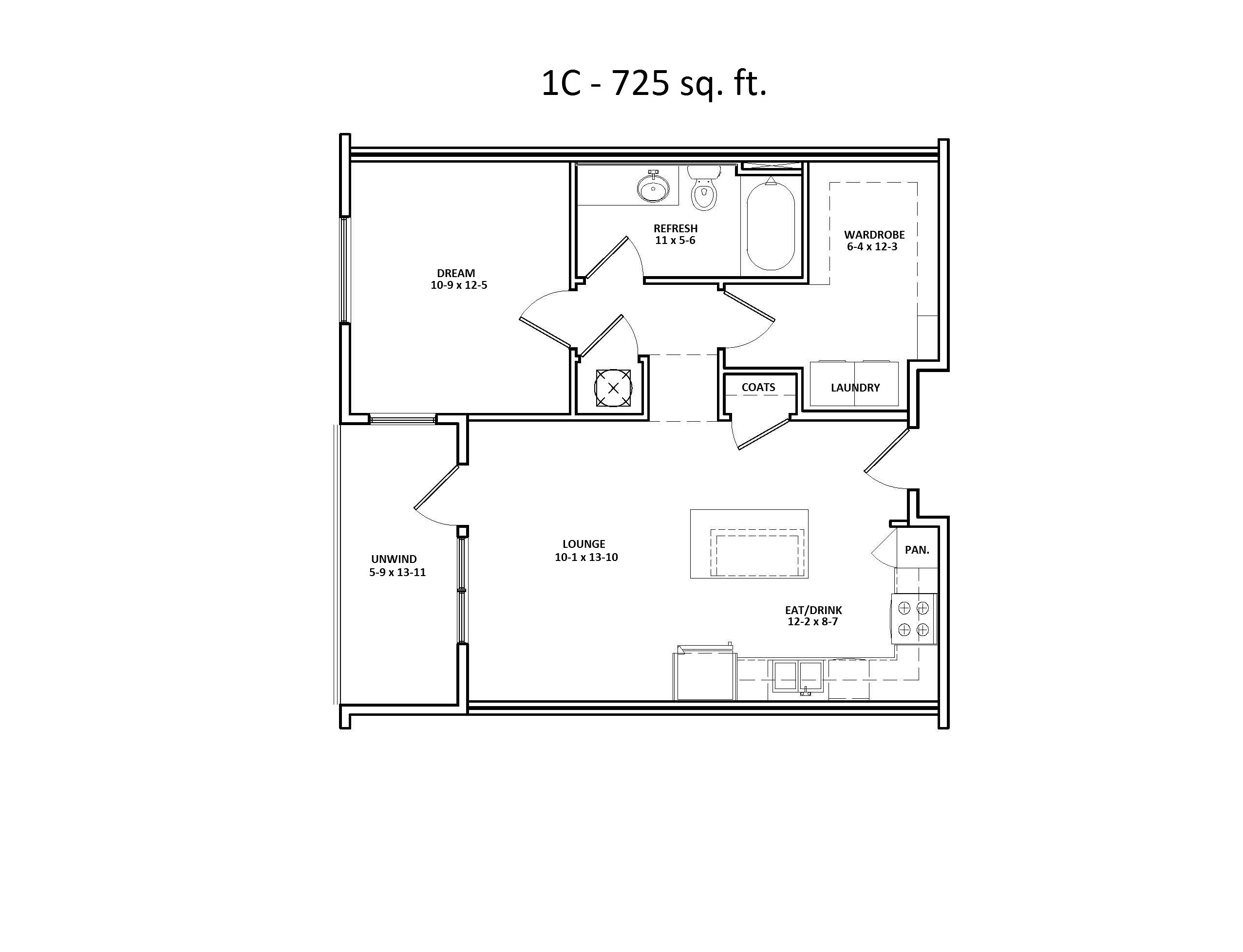 1 C Floor Plan at Discovery at the Realm (Castle Hills), One bedroom, Walk-in Closet