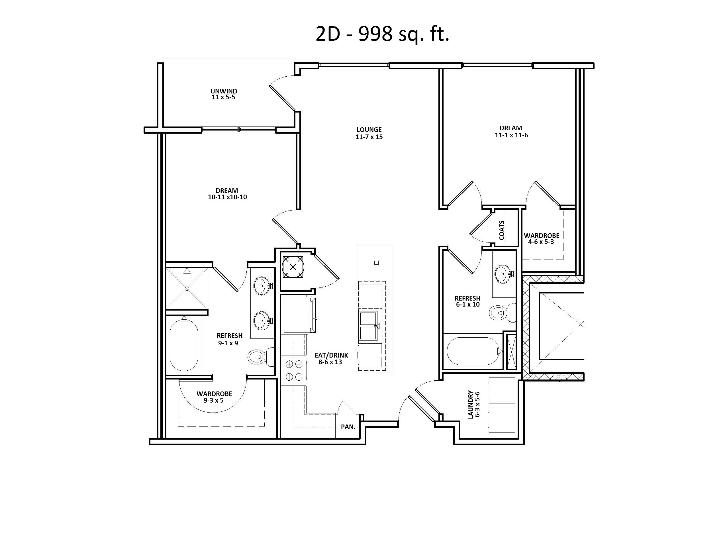2 D Floor Plan, Two Bed, Two Bath, Discovery at the Realm (Castle Hills), Texas