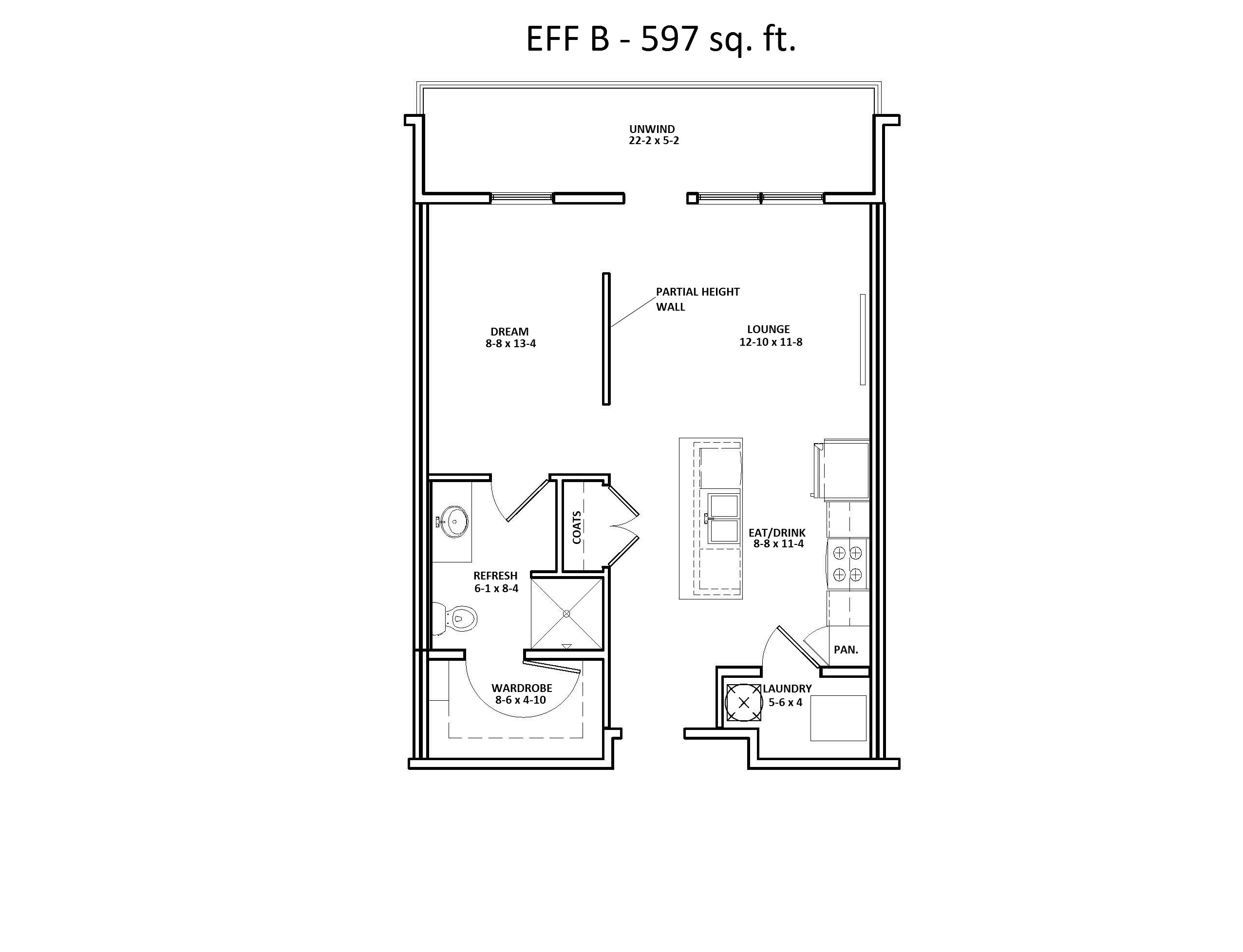 EFF B Studio Floor Plan, Discovery at the Realm (Castle Hills), Lewisville, TX
